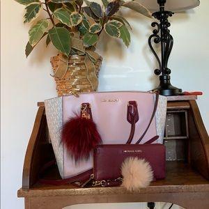 Michael Kors Large Carolyn Tote & Wallet Pink set